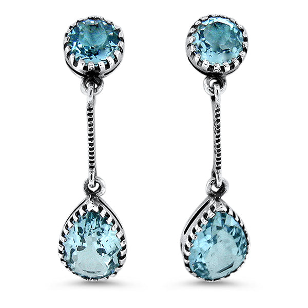 925 Sterling Silver Antique Victorian Style 6 Carat Genuine Sky Blue Topaz Earrings #30653