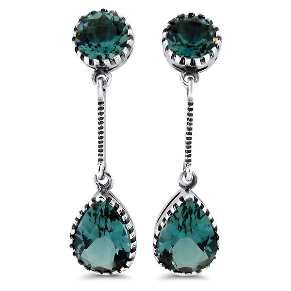 925 Sterling Silver Antique Victorian Style 5 Carat Emerald Green Quartz Earrings #30654