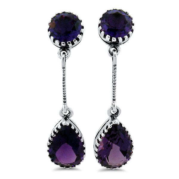 925 Sterling Silver Antique Victorian Style 5 Carat Amethyst Earrings #30655