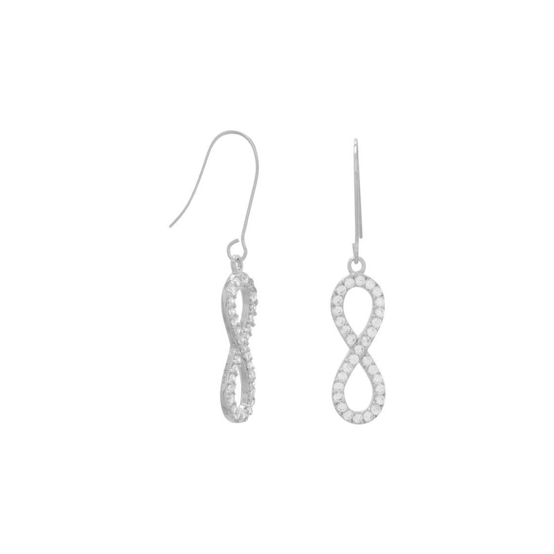 Rhodium Plated CZ Infinity Drop Earrings