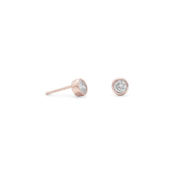 14 Karat Rose Gold Plated Stud Earrings with Bezel Set CZs Item #: 65778