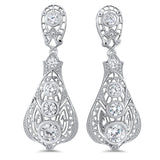 925 Sterling Silver Antique Victorian Style Cubic Zirconia Filigree Earrings #30657