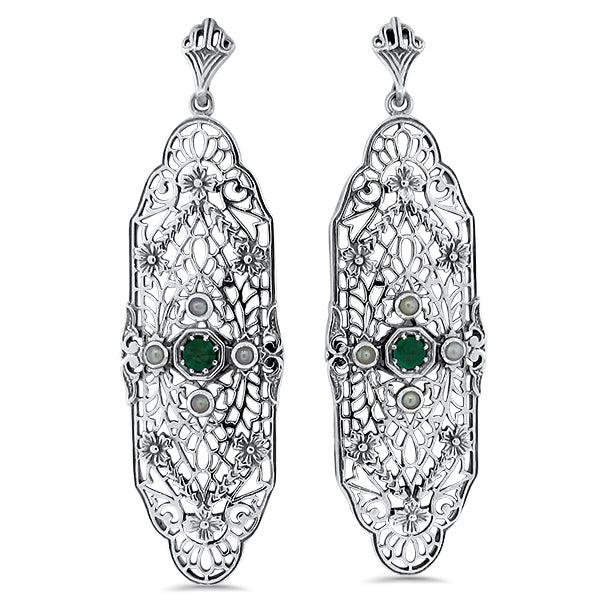 Sterling Silver Edwardian  Style Genuine Emerald & Pearl Filigree Earrings #30658