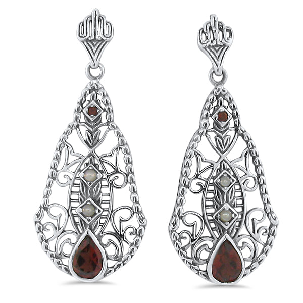 Sterling Silver Antique Style Genuine Garnet & Freshwater Pearl Filigree Earrings #30660