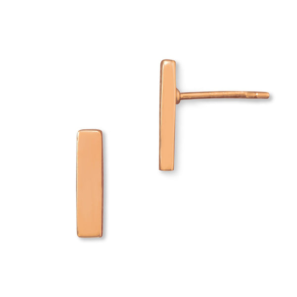 14 Karat Rose Gold Plated Bar Stud Earrings Item #: 66117