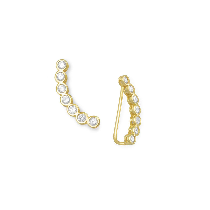 14 Karat Gold Plated Bezel CZ Ear Climbers
