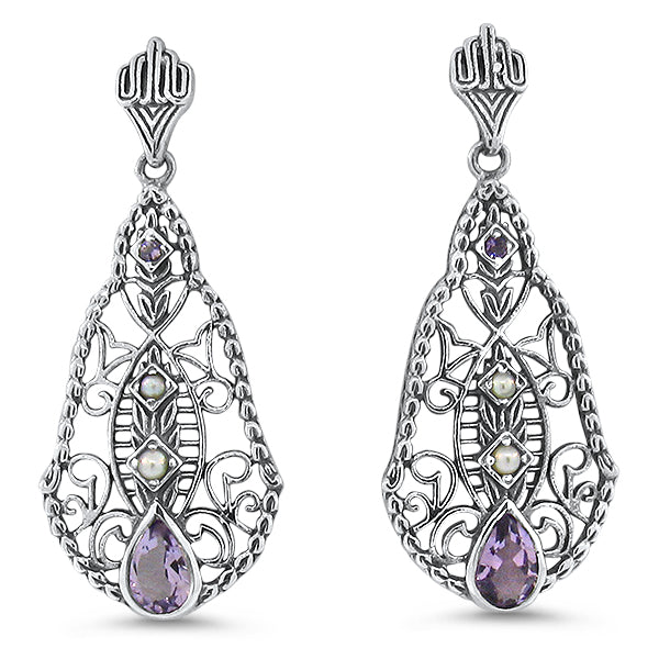Sterling Silver Antique Style Brazilian Amethyst &  Pearl Filigree Earrings #30661