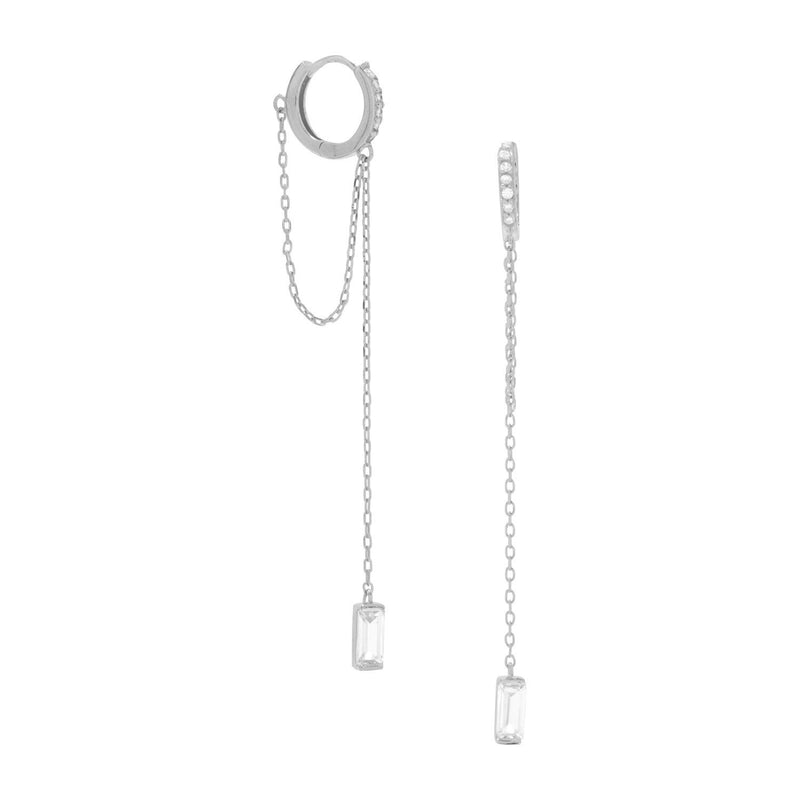Rhodium Plated CZ Hoop Earrings with Chain Drop