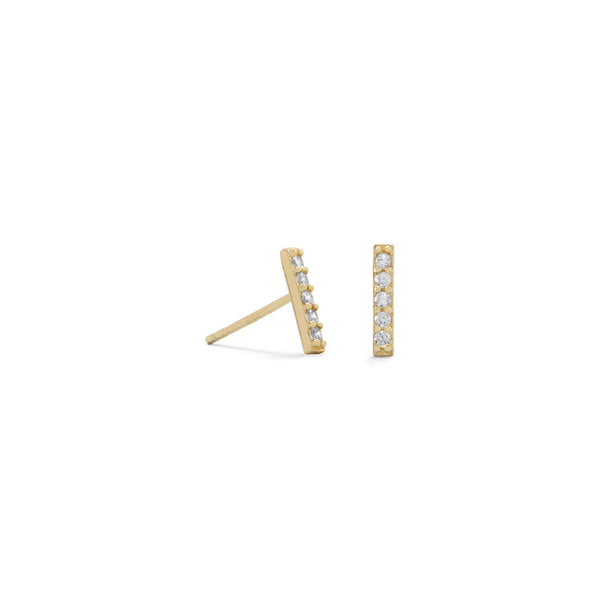 14 Karat Gold Plated Mini CZ Bar Studs