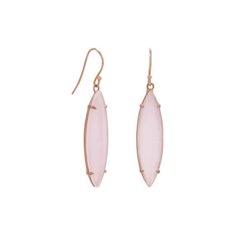 14 Karat Rose Gold Plated Pink Glass Marquise Earrings Item #: 66287