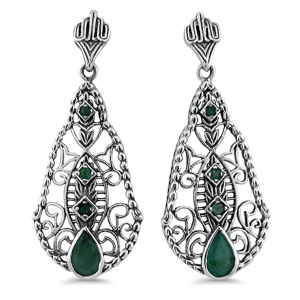 925 Sterling Silver Antique Style Genuine Emerald Filigree Earrings #30662