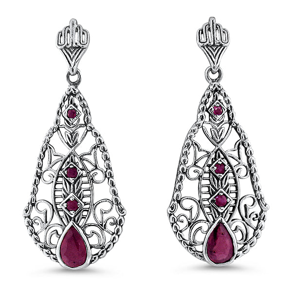 925 Sterling Silver Antique Style Genuine Ruby Filigree Earrings #30663