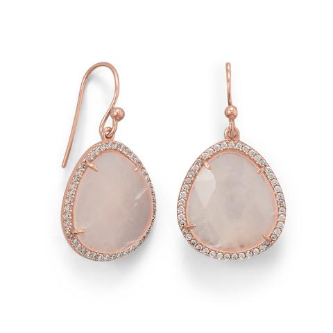 14K Rose Gold Plated Rose Quartz and CZ Earrings Item #: 66415