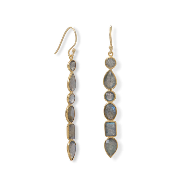 14 Karat Gold Plated Multi Shape Labradorite Earrings