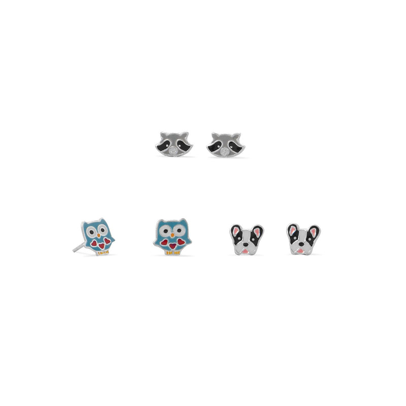 Owl, Raccoon and Dog Earring Set