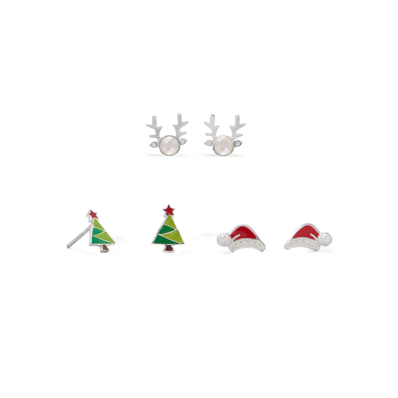Reindeer, Santa Hat and Tree Earring Set