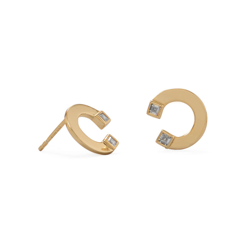 "14 Karat Gold Plated ""C"" w/CZ Post Earrings"