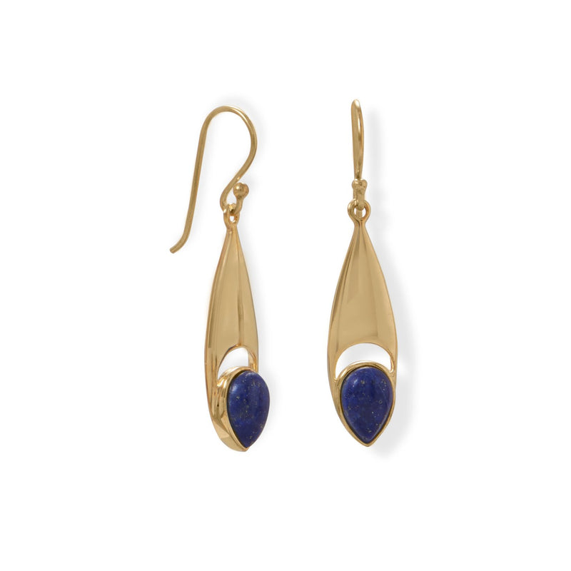 14 Karat Gold Plated Pear Shaped Lapis Earrings