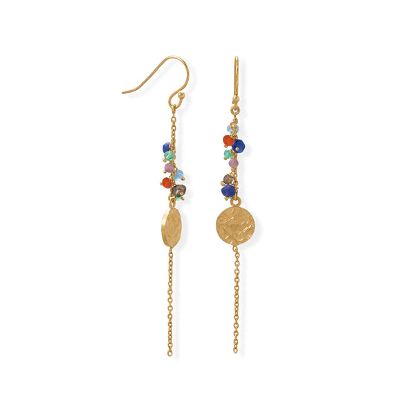 14 Karat Gold Plated Multi Bead and Disk Earring