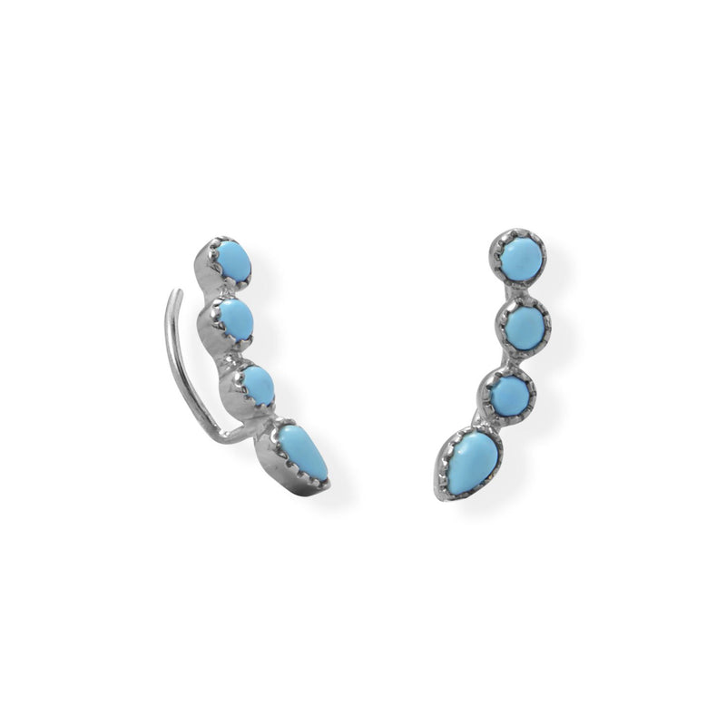 Rhodium Plated Synthetic Turquoise Ear Climber Earring