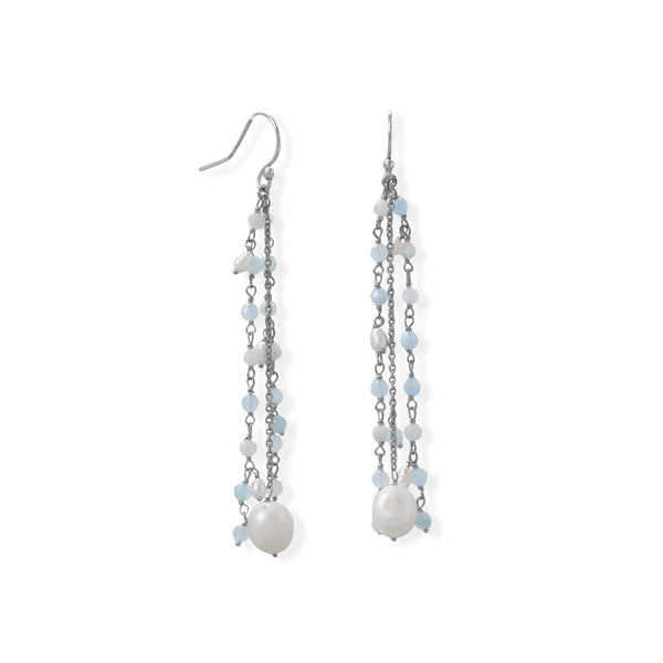 Aquamarine and Cultured Fresh Water Pearl French Wire Earring