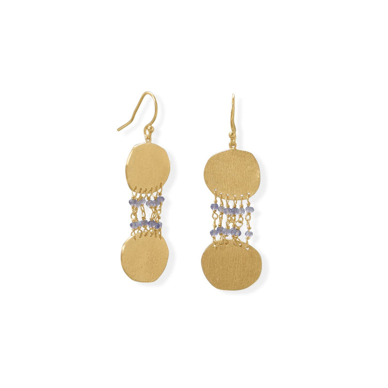 14 Karat Gold Plated Iolite and Textured Disk Earring