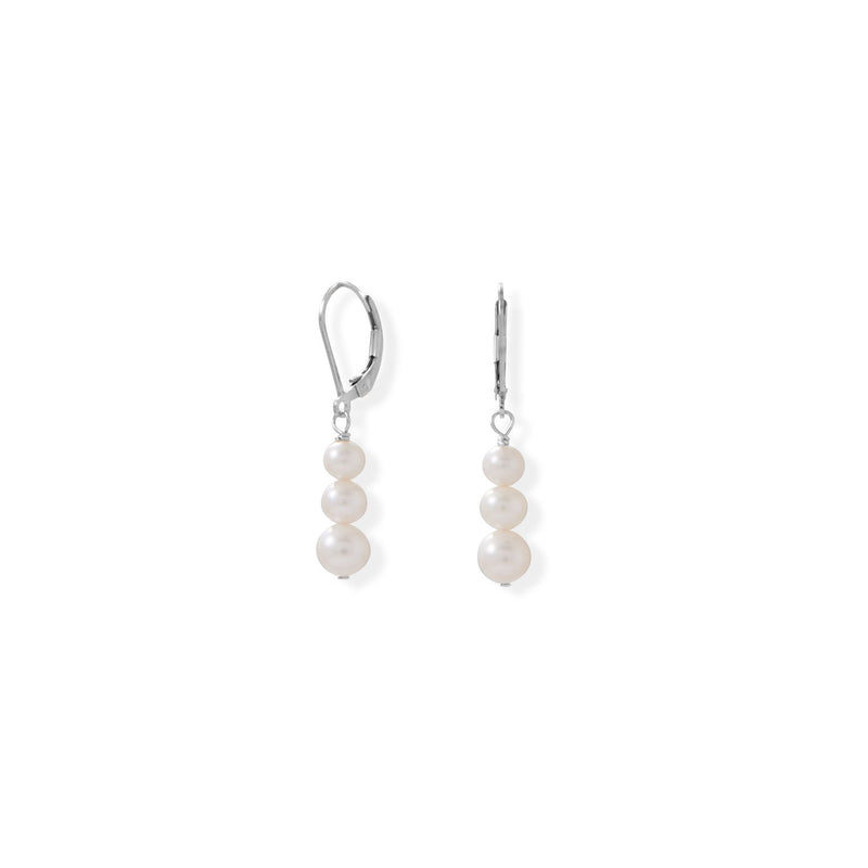 Stacked Cultured Freshwater Pearl Lever Earrings