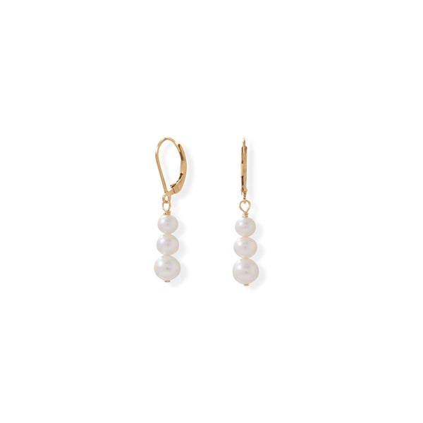 14/20 Gold Filled Stacked Cultured Freshwater Pearl Lever Earrings