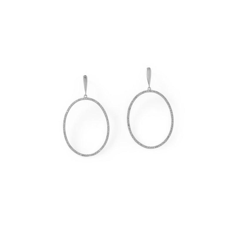 Rhodium Plated CZ Oval Post Earrings