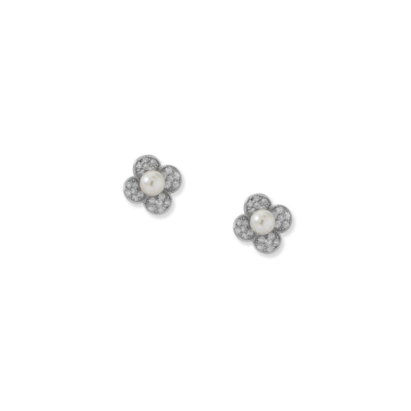 Rhodium Plated Simulated Pearl and Pave CZ Flower Earrings