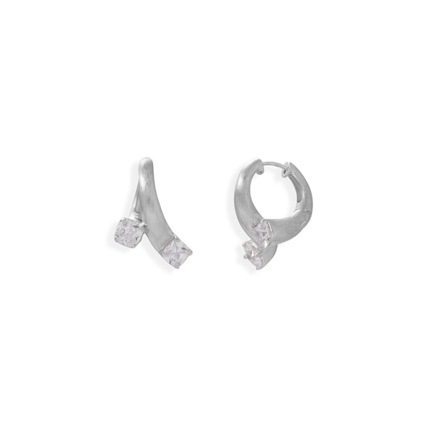 Brushed Art Deco and CZ Hoop Earrings