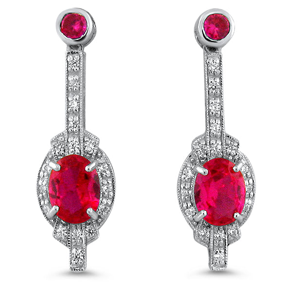 Sterling Silver Antique Art Deco Style 4 Carat Ruby/Cubic Zirconia Earrings #30668