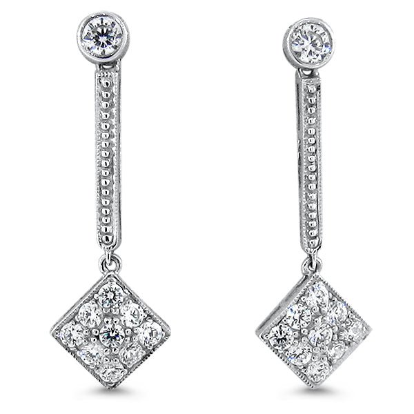 925 Sterling Silver Antique Art Deco Style Cubic Zirconia Earrings #30670