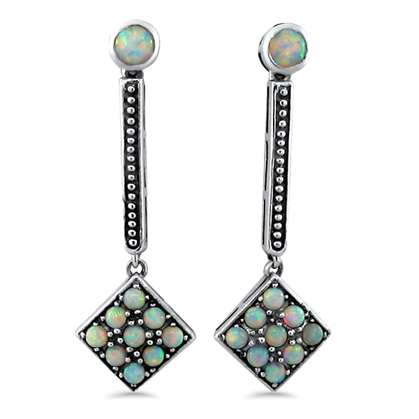 925 Sterling Silver Antique Art Deco Style Opal Earrings #30671