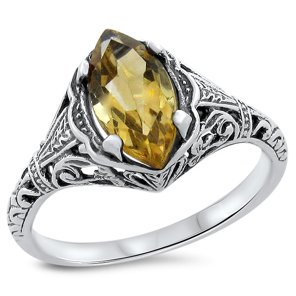 925 Sterling Silver Antique Style Genuine Citrine Filigree Ring #30694