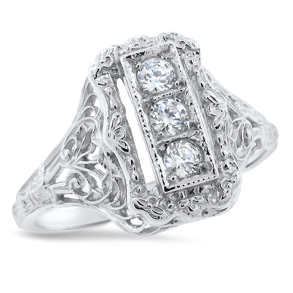 Art Deco Antique Style Cubic Zirconia Filigree Ring, Sterling Silver  #30699