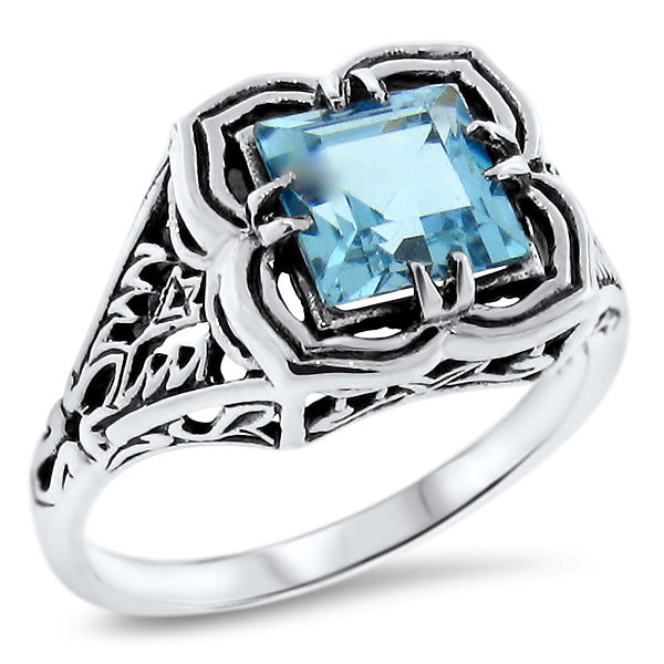 925 Sterling Silver Antique Style 2.33 Carat Genuine Sky Blue Topaz Filigree Ring #30703