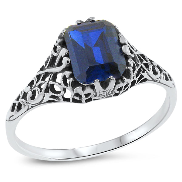 925 Sterling Silver Antique Style 1.75 Carat Sapphire Filigree Ring #30718