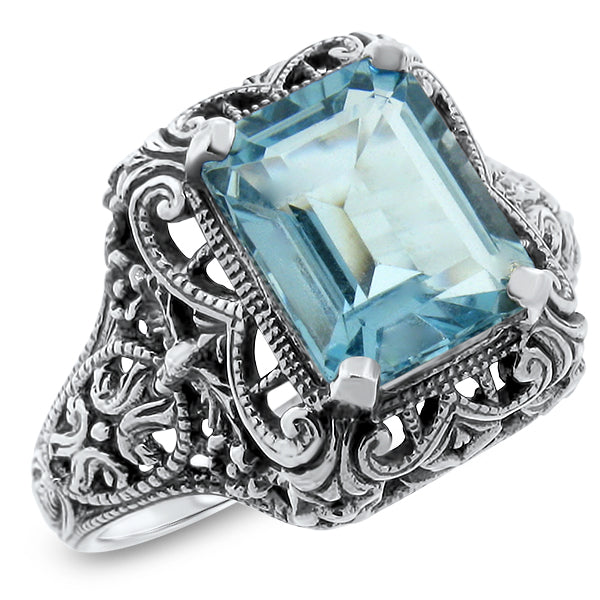 925 Sterling Silver Antique Style 4 Carat Genuine Sky Blue Topaz Filigree Ring #30728