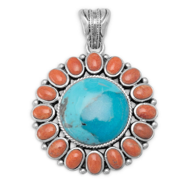Reconstituted Turquoise and Coral Sunburst Pendant