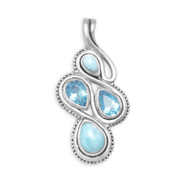 Oxidized Larimar and Blue Topaz Slide