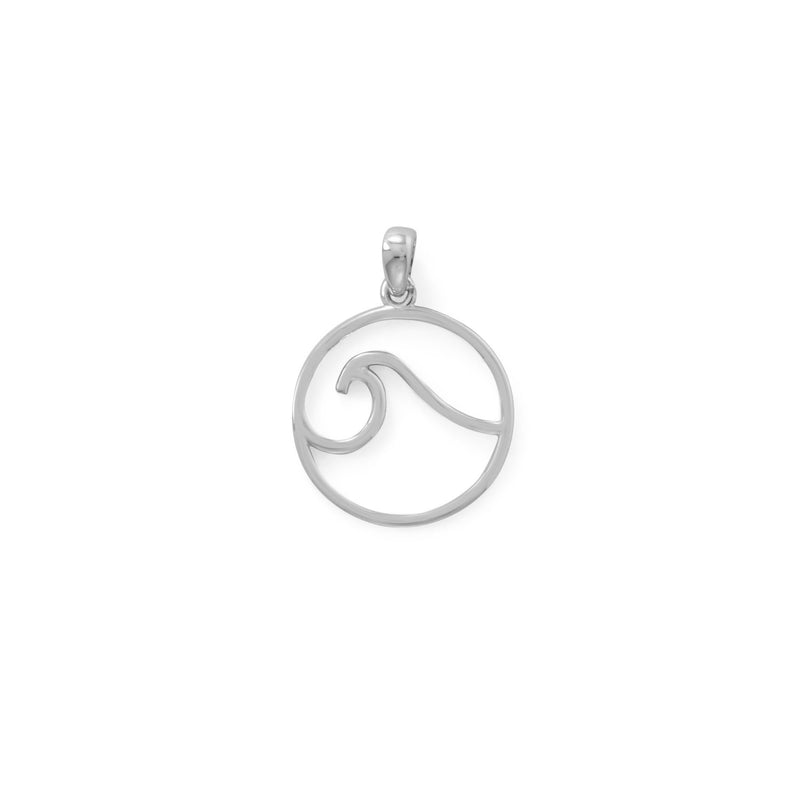 Rhodium Plated Outline Wave Pendant