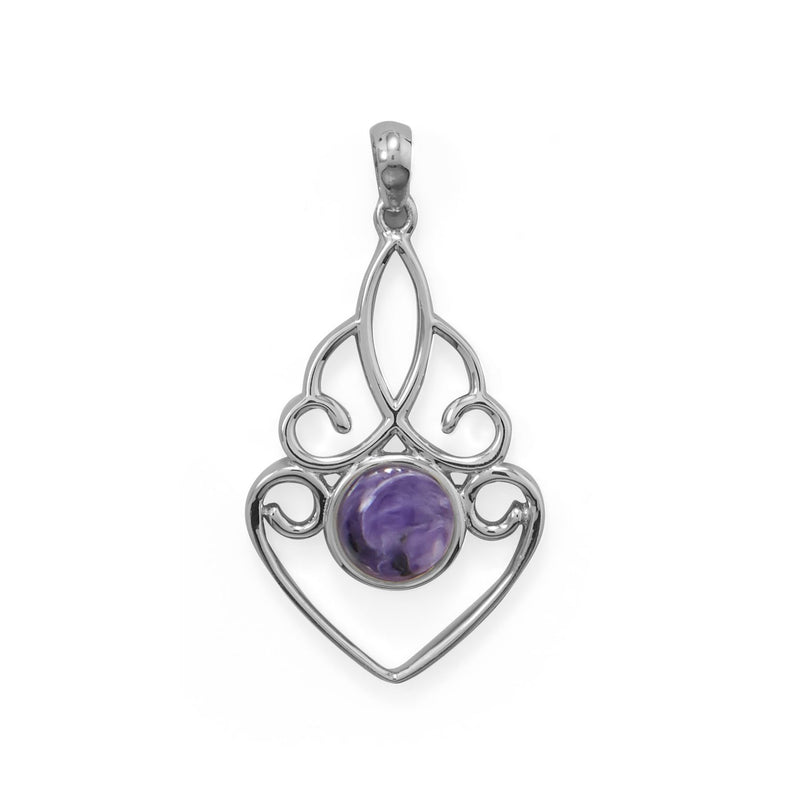 Ornate Cutout Charoite Pendant