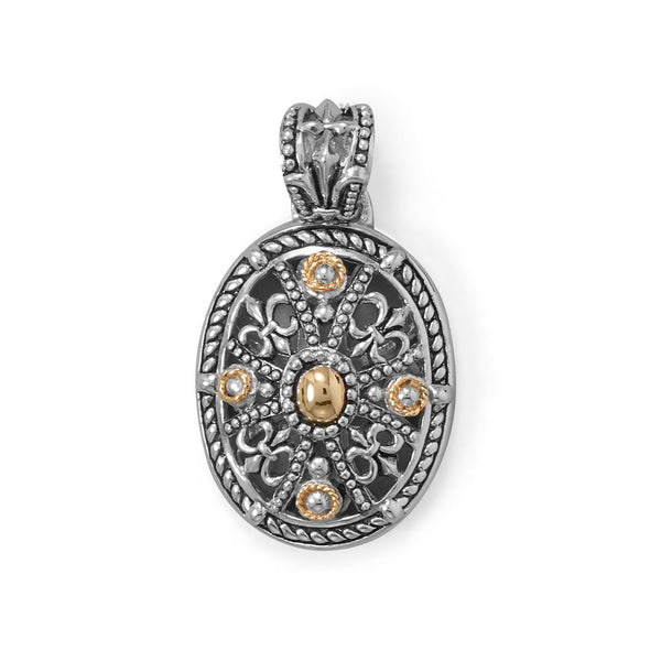 Fleur De Lis Fever! Ornate 14 Karat Gold and Rhodium Plated Silver Pendant