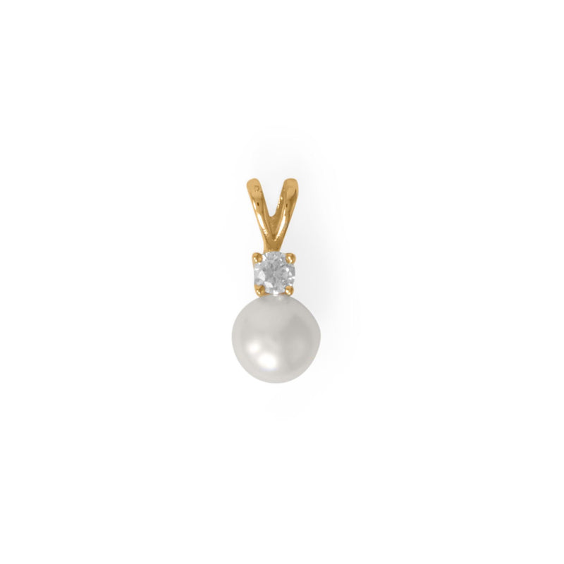 14 Karat Gold Plated CZ and Cultured Freshwater Pearl Slide
