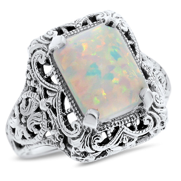 925 Sterling Silver Antique Style Opal Filigree Ring #30758