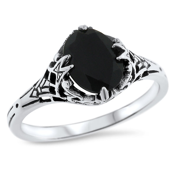925 Sterling Silver Antique Style Genuine Black Agate Filigree Ring #30759