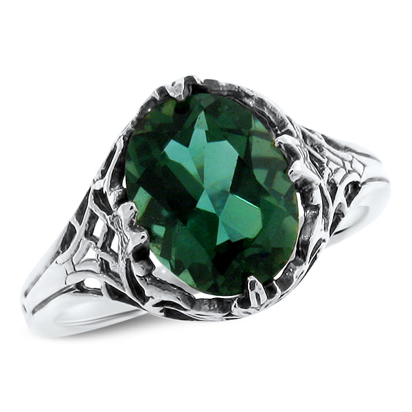 925 Sterling Silver Antique Victorian Style Emerald Green Quartz Filigree Ring #30766