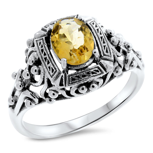 925 Sterling Silver Antique Victorian Style Genuine Citrine Filigree Ring #30767
