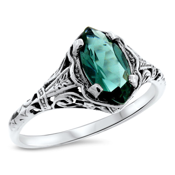 Sterling Silver Victorian Style Emerald Green Quartz Filigree Ring #30788